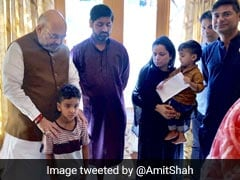 Amit Shah Meets 5-Year-Old Son Of Cop Killed In Kashmir Terror Attack