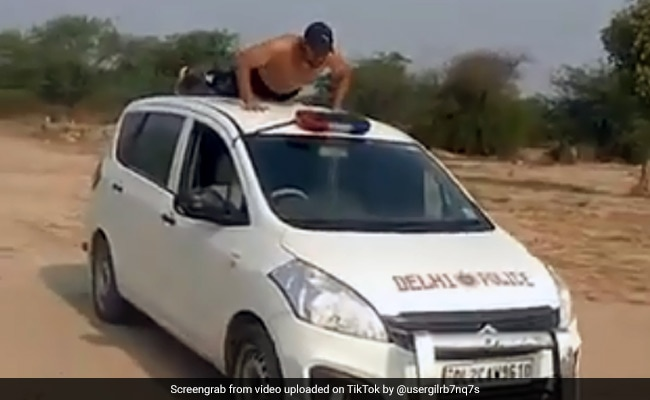Shirtless Man Does Push-Ups On Delhi Police Car, Video Viral On TikTok