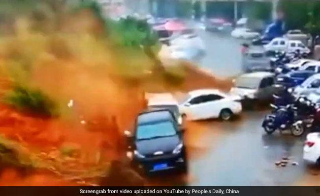Caught On Camera: Massive Landslide Sweeps Cars Away