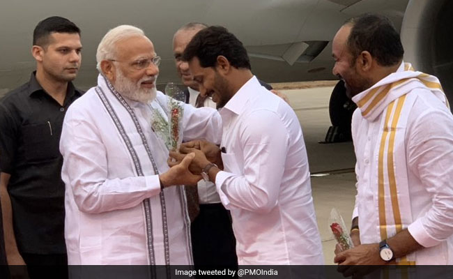 Jagan Reddy Receives PM Modi On His Visit To Andhra Temple Town Tirupati