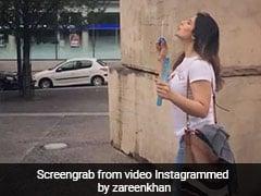 जरीन खान सड़कों पर यूं बबल्स बनाती आईं नजर, Video हुआ वायरल