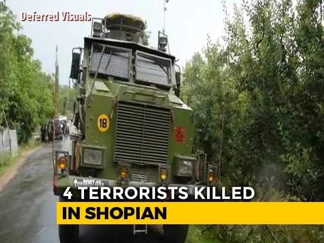 Video : 4 Terrorists Shot Dead In Encounter In Jammu And Kashmir's Shopian