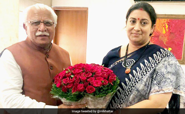 Smriti Irani Meets Haryana Chief Minister, Discusses Women Welfare Issues