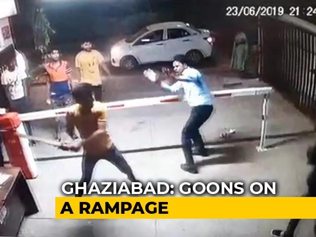 Video : On Camera, High-Rise Guards In Ghaziabad Thrashed After Car Denied Entry