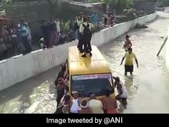 School Van Stuck In Water In UP; Driver Was In Hurry, Allege Children