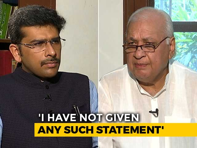 "Video : ""All I Said Was We Aren't Society Changers"": Ex-Minister Arif Mohammad Khan To NDTV"