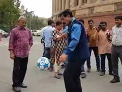 In A Unique Protest, Trinamool Lawmaker Plays Football Outside Parliament