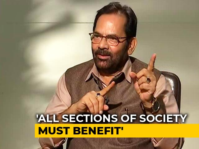 "Video : Nobody Should Be Forced To Chant ""<i>Jai Shri Ram</i>"", Says Mukhtar Abbas Naqvi"