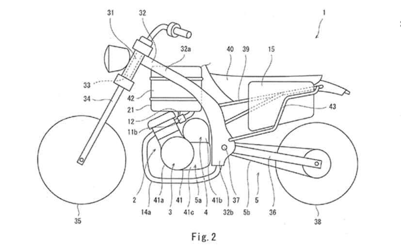 Patent images reveal a hybrid motorcycle concept from Kawasaki