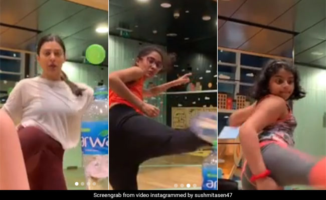 'Why Should Boys Have All The Fun?': Sushmita Sen Nails Bottle Cap Challenge With Daughters Alisah, Renee But Not Without Rohman Shawl