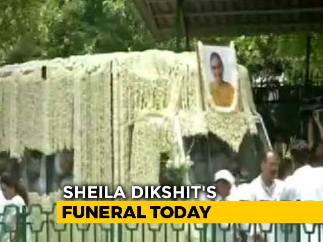 Video : Sheila Dikshit's Body Brought To Congress Office; Last Rites Later Today