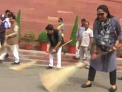 Watch: Broom In Hand, Hema Malini Joins Cleanliness Drive At Parliament
