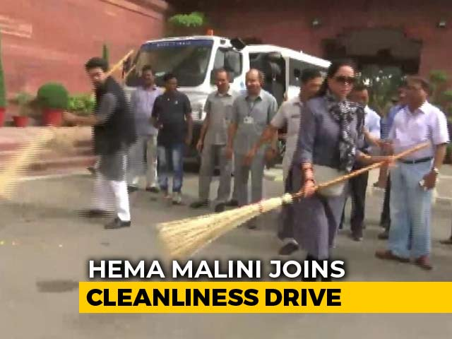 Video : Watch: Broom In Hand, Hema Malini Joins Cleanliness Drive At Parliament