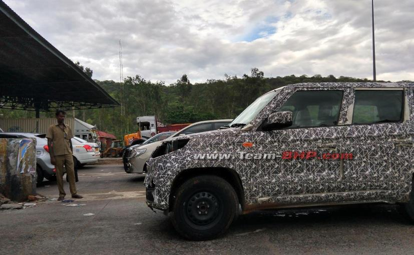 The 2020 Mahindra TUV300 Plus is seen with temporary headlamps, and could get an all-new face