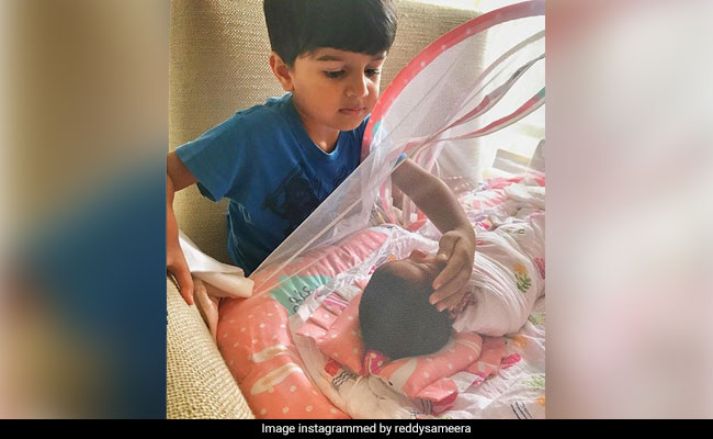 Sameera Reddy's Son Hans Is 'Fascinated' With His Little Sister. See Pic