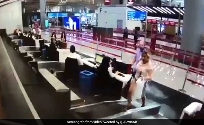 Watch: Woman Boards Luggage Belt Assuming It Would Take Her To The Plane