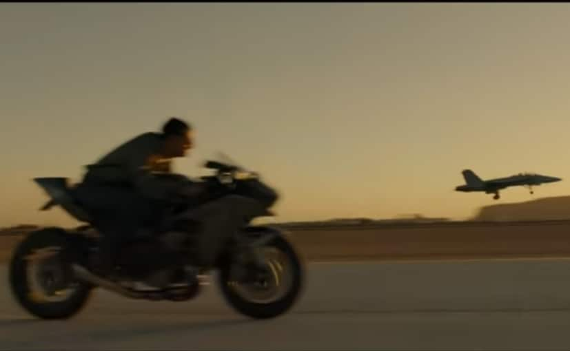 Tom Cruise is seeen riding a Kawasaki Ninja H2 in the trailer of the new Top Gun film