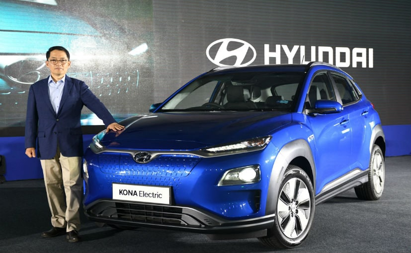 SS Kim, MD & CEO, Hyundai Motor India poses with the all-new Kona Electric
