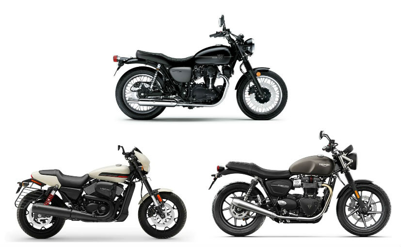 The three motorcycles use modern engines paired with an old school design language