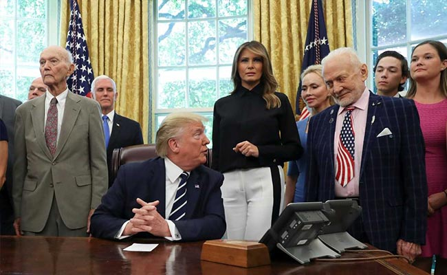 Trump meets with Apollo 11 astronauts Buzz Aldrin and Michael Collins