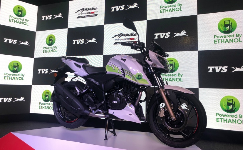The ethanol-powered TVS Apache RTR 200 FI E100 has been priced at Rs. 1.2 lakh