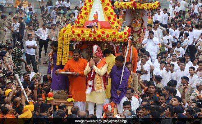 Vijay Rupani, Nitinbhai Patel Offer Prayers At Jagannath Temple