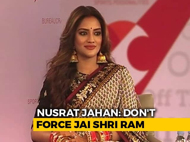 "Video : ""<i>Gale Laga Kar</i>...Not <i>Gale Daba Kar</i>"": Nusrat Jahan On 'Jai Shri Ram' Chant"
