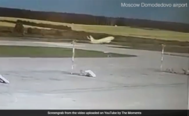 Caught On Camera: Passenger Plane Overshoots Runway, Hits Lighting Units
