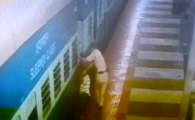 On Camera, Railway Cop Saves Man Who Slipped Between Train And Platform