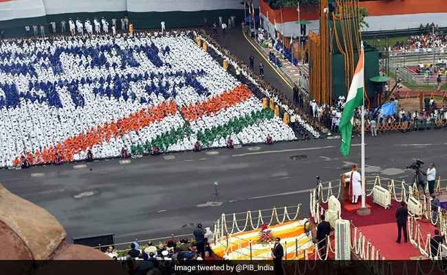 Girl Students Make 'New India' Formation In Front Of PM Modi At Red Fort