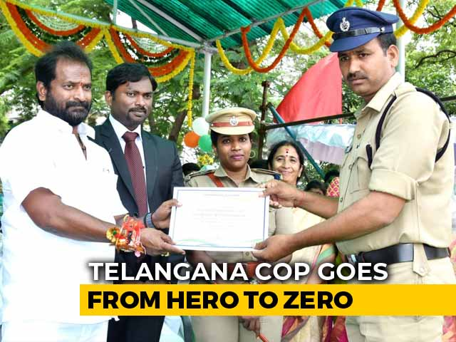 Video : Telangana Cop Caught Taking Bribe Day After Getting Best Constable Award