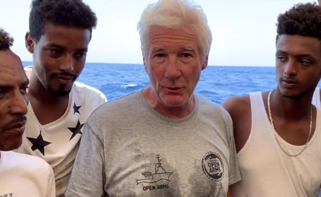 Richard Gere Delivers Food To Stranded Migrants Ship in Mediterranean