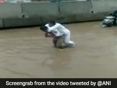 Watch: In Knee-Deep Water, Hyderabad Cop Carries Man To Safety