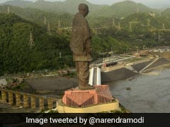 Work Of Laying Fence On Land Near Statue Of Unity Suspended