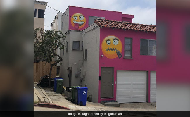 Petty Fight In A Neighborhood Ended With A Home Covered In Giant Emoji