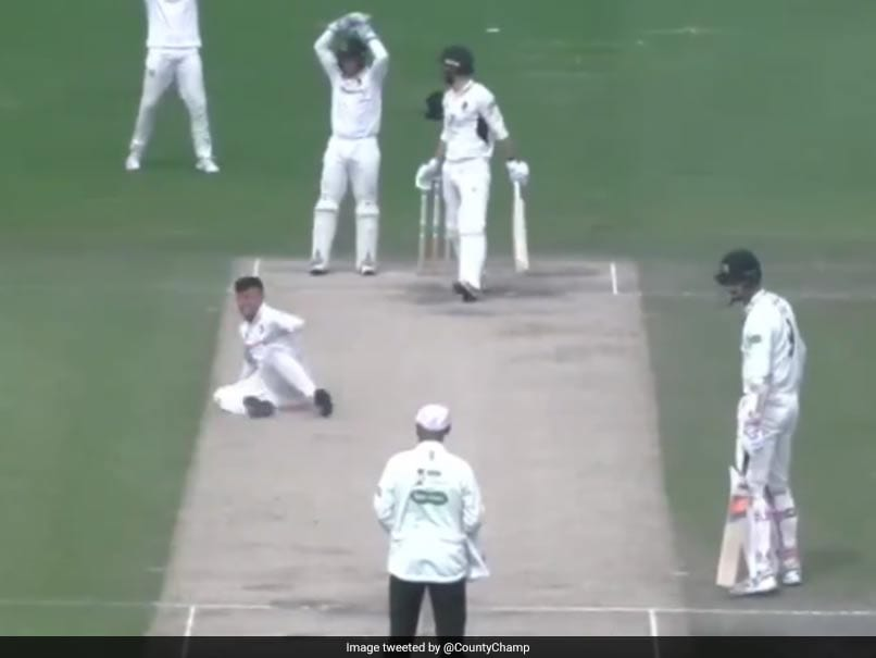 When Bowler Tom Haines Falls during Appeal in County Championship