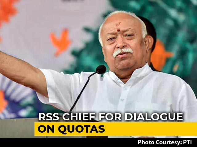 "Video : Mohan Bhagwat Calls For Talks On Reservation In ""Atmosphere Of Harmony"""
