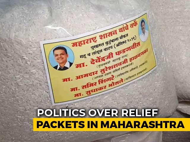 Video : Row Over Devendra Fadnavis' Pictures On Maharashtra Flood Relief Material