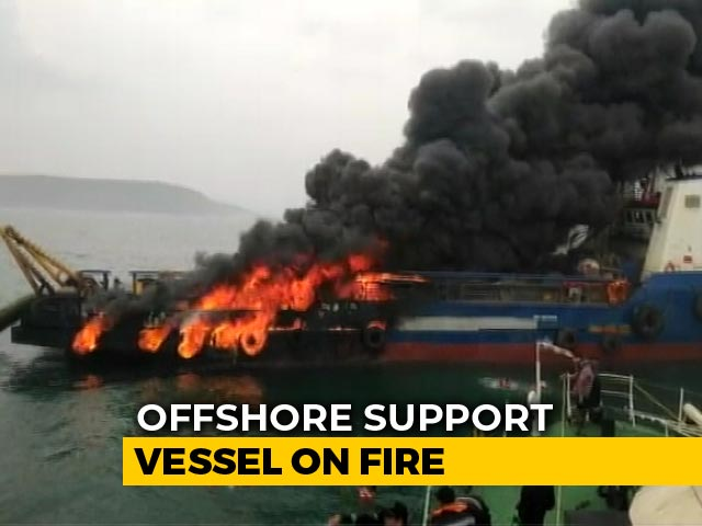 Video : 1 Missing, 28 Rescued After Fire On Coast Guard Ship Off Andhra Coast