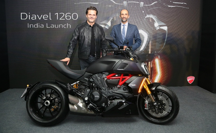 S Canovas, MD, Ducati India with P Carini, Charge D'Affair, Embassy Of Italy, with the Diavel