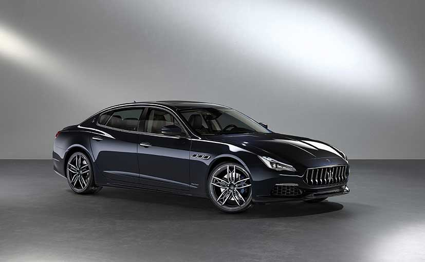The Quattroporte is finished in a custom 'Blu Sofisticato' metallic exterior paint.