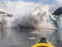 Caught On Camera: Glacier Collapse Has Kayakers Paddling For Their Lives