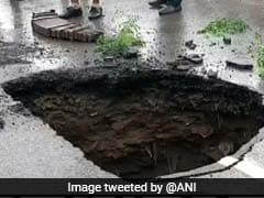 Portion Of Gurgaon Basai Road Caves In After Heavy Rain
