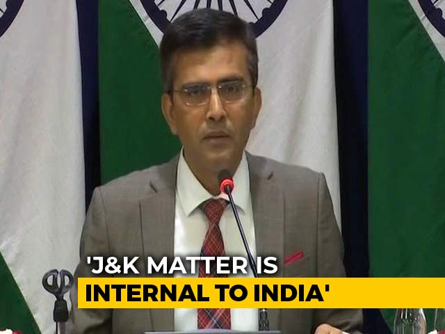 "Video : ""Condemn Irresponsible Remarks By Pak Leaders"" On Internal Matters: Government"