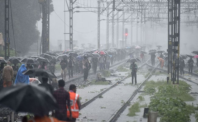 Thousands Stranded In Mumbai After Waterlogging On Tracks Due To Rain