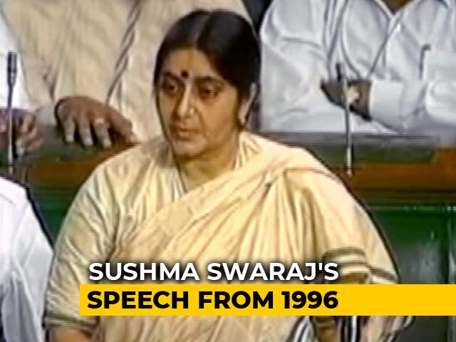 Video : Watch: Sushma Swaraj's Fiery Speech From 1996