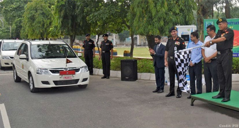 QMG, Lt Gen Gopal R flagged off the electric vehicles for the Indian Army