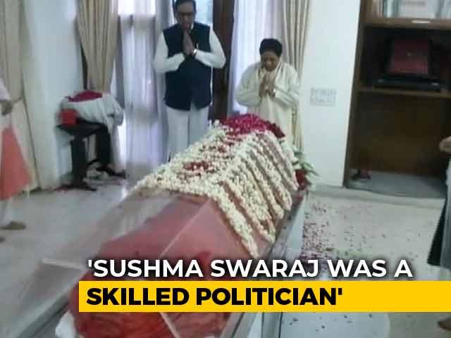 Video : BSP Chief Mayawati Pays Last Respects To Sushma Swaraj
