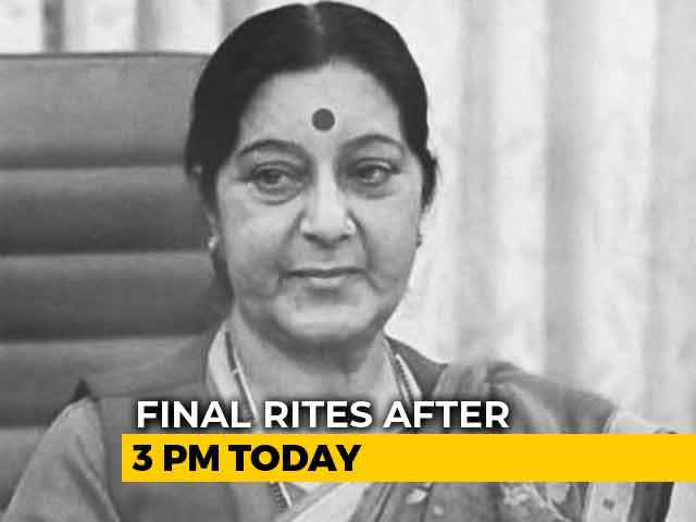 Video : Sushma Swaraj To Be Cremated With State Honours Today, Hundreds Pay Tributes