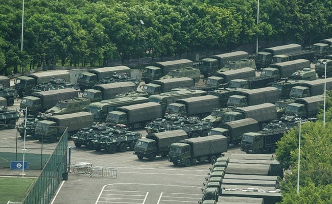 Armoured Vehicles, Thousands Of Chinese Soldiers Reach Hong Kong Border